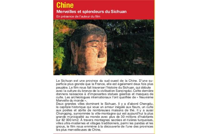 Connaissance du Monde « Chine, merveilles et splendeurs du Sichuan » 1 - Palavas-les-Flots